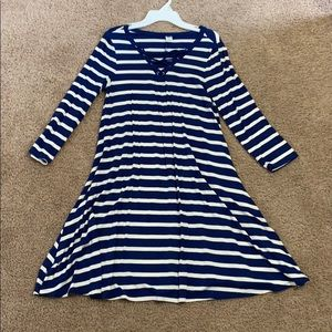 Quarter Sleeve, Navy blue striped dress